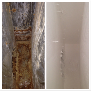 Metal Box Vent Before and After Duct Restoration